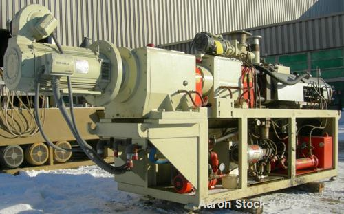 USED: American Maplan conical counter-rotating twin screw, 62 mm, model DSK62. Approximate 47.1:1 gearbox ratio. Built-in oi...