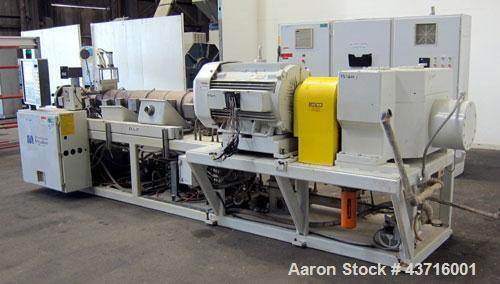 Used- American Maplan 110mm Counter-Rotating Twin Screw Extruder, Model TS-110.  Approximate 26 to 1 L/D ratio.  Top vented ...