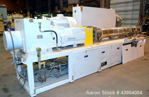 Used- American Maplan 110 mm Counter-Rotating Twin Screw Extruder, Model TS-110. Approximately 26 to 1 L/D ratio. Top vented...