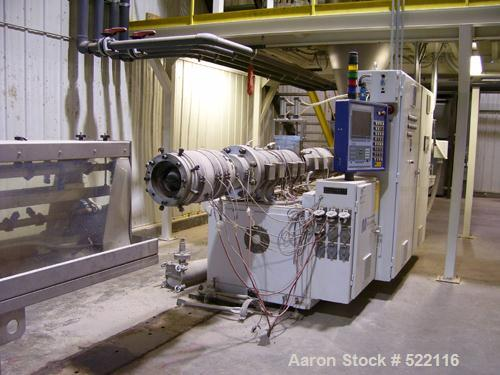 USED: American Maplin model TS-110 counter-rotating twin screw extruder. 110 mm screw diameter. Unit vented and equipped wit...