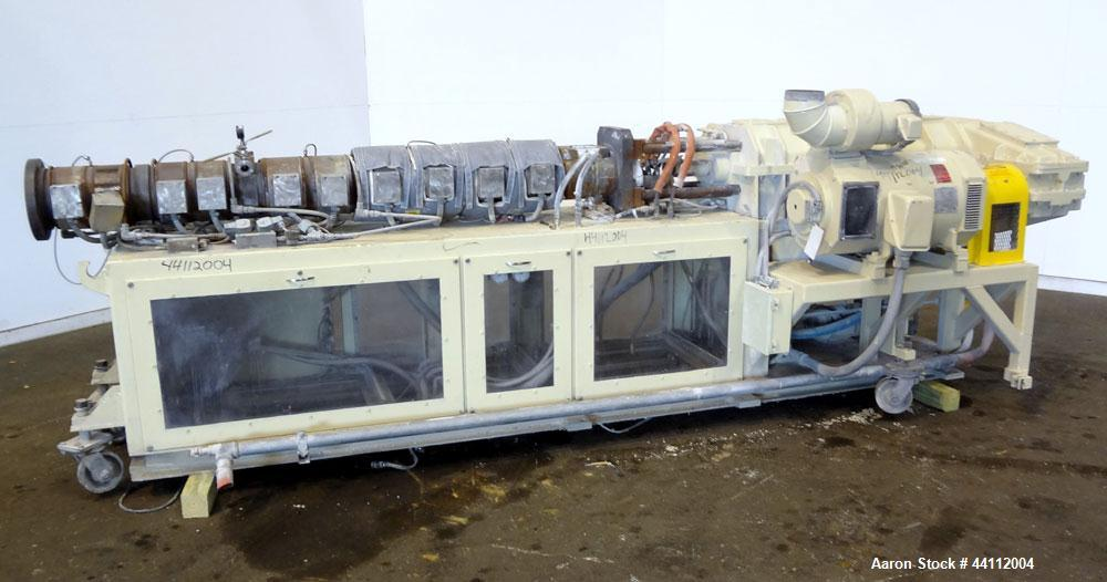 Used- American Maplan 88mm Counter-Rotating Twin Screw Extruder, Model TS-88. Approximate 24 to 1 L/D ratio. (10) barrel zon...
