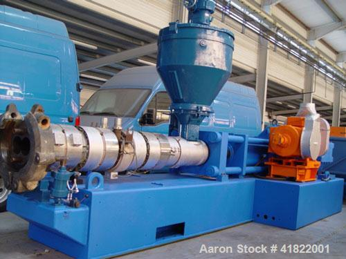 """Used-Anger Counter-Rotating Twin Screw Extruder. 168 hp/126 kW drive, diameter 6.3"""" (160 mm), L/D 21 with degassing."""
