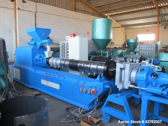 "Used-Bausano Twin Screw Extruder with Counter-Rotating Screws.  5.75"" (146 mm) Diameter screws, 20 L/D.  Die cutting head wi..."