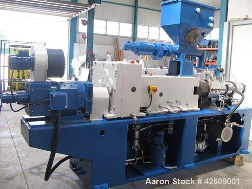 "Used-Cincinnati CM55 SC Twin Screw Extruder, counter-rotating. 2.17"" (55 mm), capacity 419-507 lbs/h (190-230 kg/h) of U-PVC..."