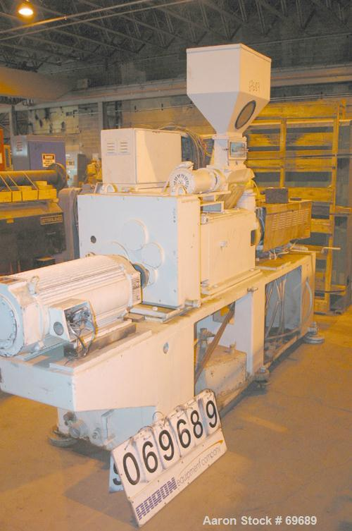"USED: Cincinnati 2.16"" (55mm) diameter conical counter-rotating twinscrew extruder, moel CM55. Approx 20:1 L/D ratio. Electr..."