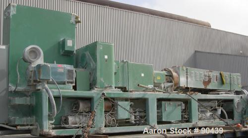 USED: Cincinnati counter-rotating twin screw extruder, 92 mm, model CM92HP. Electrically heated, water cooled 5 zone top ven...