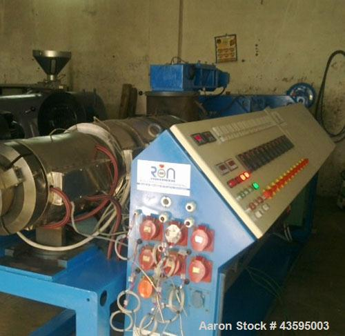 Used-Cincinnati Milacron Twin Screw Extruder, Model CMT-80. Conical screws, counter-rotating, 80 mm / 172.6 mm, vented barre...