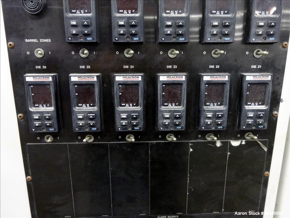 Used- Cincinnati Milacron Conical Counter-Rotating 55mm Twin Screw Extruder, Mod