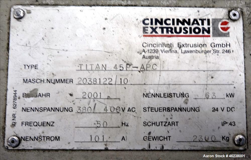"Used- Cincinnati Extrusion 45mm Conical Twin Screw Extruder Type Titan 45P-APC. 1.77"" (45 mm)/ 3.74"" (95 mm) conical screws...."