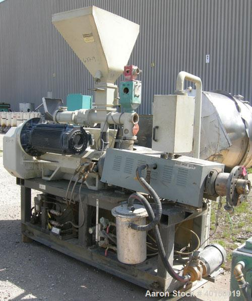 Used- Cincinnati Milicron Conical Counter-Rotating Twin Screw Extruder, 55 mm, model E55 Pinnacle. Electrically heated, wate...