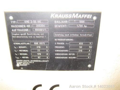 "Used-Krauss Maffei KMD 2-50 KK Conical Extruder.  Counter-rotating, screw diameter 2"" - 4"" (50 - 103 mm), screw length 41.7""..."