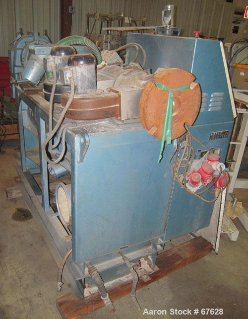 Used- Krauss Maffei 40mm Counter-Rotating Twin Screw Extruder, Type KMD2-40KK. (2) 40 mm diameter screws. Gearbox is direct ...