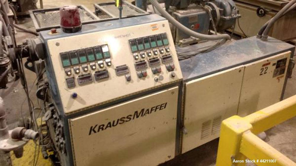 Used-Krauss Maffei Model KMD2-50KK Counter-Rotating Twin Screw Extruder. 50 mm Diameter screws, 30 hp motor, 6 barrel and 8 ...