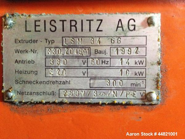 Used-Leistritz LSM 34 GG Twin Screw Extruder