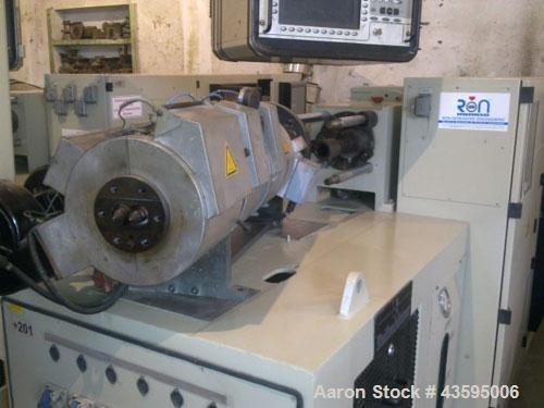 Used-Reifenhauser Twin Screw Extruder, Model BT-400-2-40K. Conical screws, counter-rotating, 40 mm / 85 mm. Vented barrel, v...