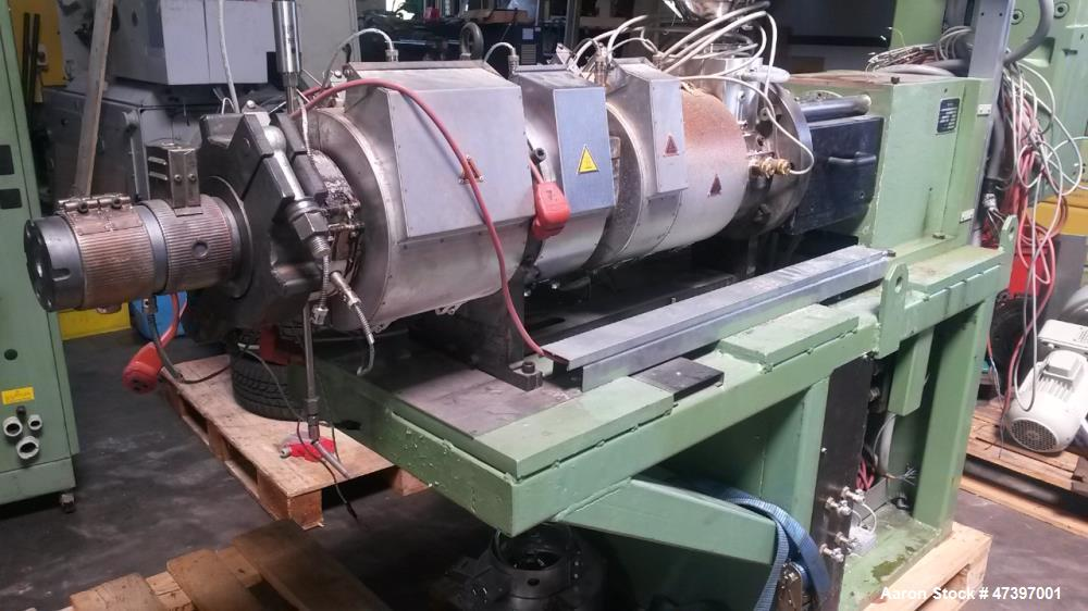 Used- Reifenhauser 80mm Twin Screw Extruder, Model BT-400-2-40K. Conical screws, counter-rotating, 40 mm / 85 mm. Vented bar...