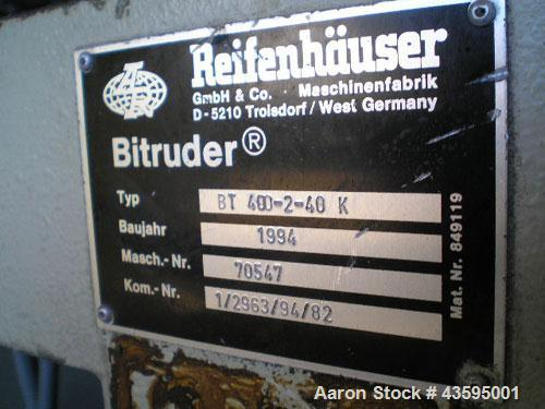 Used-Reifenhauser Twin Screw Extruder, Model BT-400. Conical screws, counter-rotating, 40 mm / 87 mm, vented barrel, vacuum ...