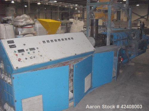 """Used-Theysohn PAR 130 Counter-Rotating Twin Screw Extruder, 5.12"""" (130 mm), L/D 23, built 1995. Capacity 1.1 tons (1000 kg/h..."""