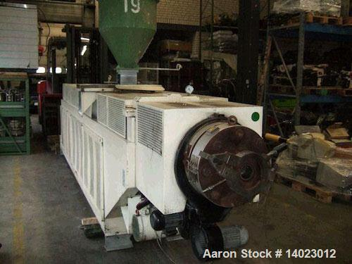 "Used-Weber DS 12 P Counter-Rotating Twin Screw Extruder. Screw diameter 4.7"" (120 mm). L/D ratio 19. Motor 100 hp (75 kW). M..."