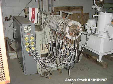 "Used- .8"", 34:1 Welding Engineers Model HT0.8 Twin Screw Extruder having counter-rotating tangential screw design. Barrel ha..."