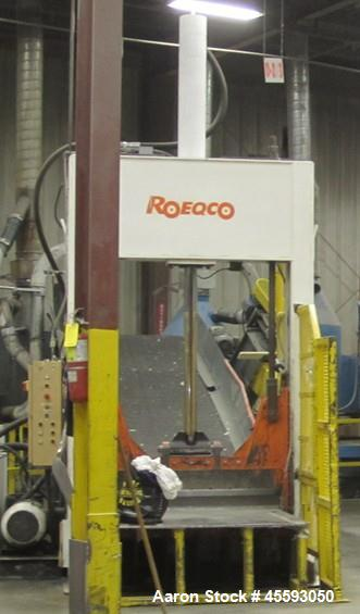 "Used-1997 Roeqco model HS 115-54-148E guillotine cutter, 54"" blade, 30 hp, 3/60/575 volts, 49 FLA, outfeed belt conveyor"