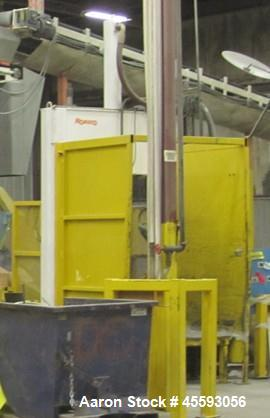 "Used-1997 Roeqco model HS 115-54-148D guillotine cutter, 54"" blade, 30 hp, 3/60/575 volts, 49 FLA, outfeed belt conveyor"