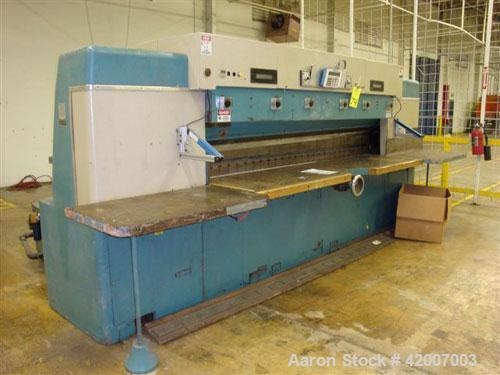"Used- Lawson Paper Trimmer, Model MPU110, 110"" wide. Micro Processor controlled, 96"" back guage."