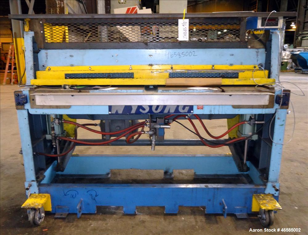 "Used- Wysong 72"" Wide In-Line Shear. Pneumatically operated. Includes controls. Mounted on carbon steel frame with casters."