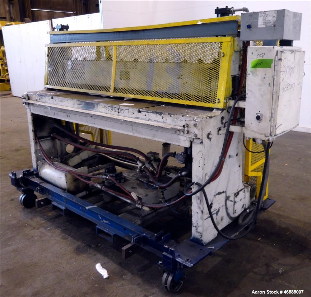 "Used- Wysong 72"" Wide In-Line Shear, Model A-72. Pneumatically operated. Includes controls. Mounted on carbon steel frame wi..."