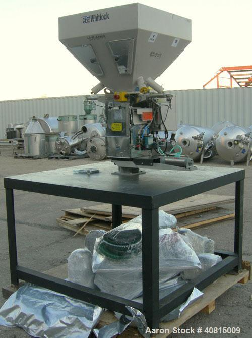 Used-  AEC Optimum OS Series Gravimetric Batch Blending System, Model OS-007-4, Carbon Steel.  (4) compartments.  Mounted on...