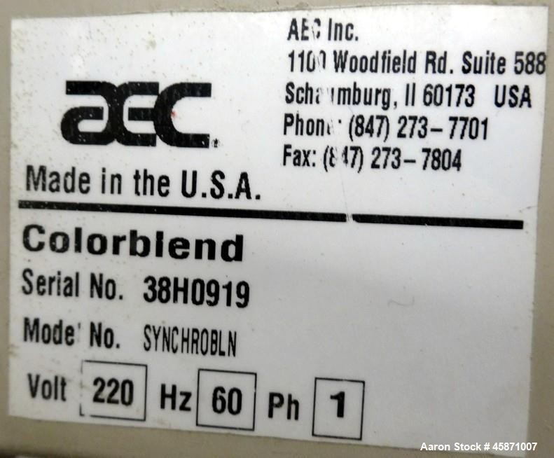 Used- AEC (4) Component Colorblend Dosing Feeder, Model Synchrobln. (4) Rotating loading chambers, (1) main bottom hopper wi...