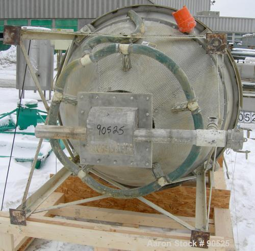 "Used- MAC Scaling Hopper, 304 stainless steel. 60"" diameter x 48"" straight side x 48"" coned bottom, flat top. 10"" center bot..."