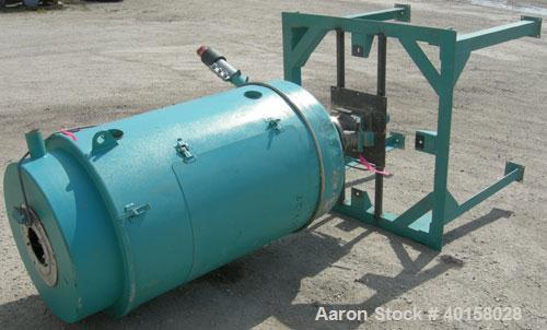 "Used- Drying Hopper, 304 stainless steel. 28"" diameter x 54"" straight side x 14"" coned bottom. 2 1/2"" side opening, approxim..."