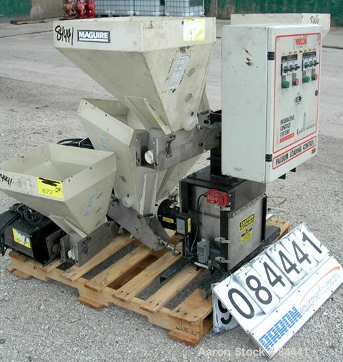 """Used- NuCon Systems Incorporated 3 Color Blending/Feeding System Consisting Of: (3) 16"""" x 16"""" Maguire hoppers with auger ass..."""
