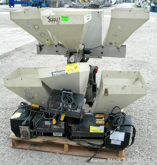"Used- NuCon Systems Incorporated 3 Color Blending/Feeding System Consisting Of: (3) 16"" x 16"" Maguire hoppers with auger ass..."