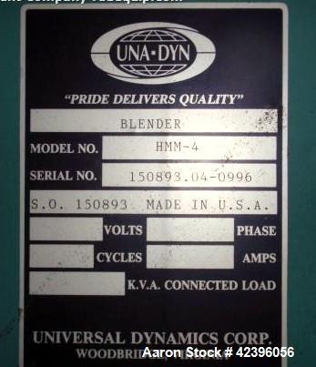 Used- Unadyn Protec Hopper Loader Blender System Consisting Of: (1) Unadyn 4 compartment blender, model HMN-4, serial# 15089...