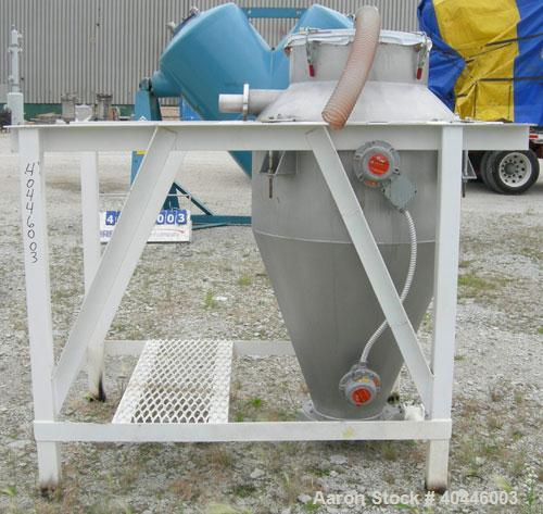 "Used- Vac-U-Max Hopper, 20 Cubic Feet, Model 105151, 304 Stainless Steel, Vertical. 36"" diameter x 18"" straight side x 23"" c..."