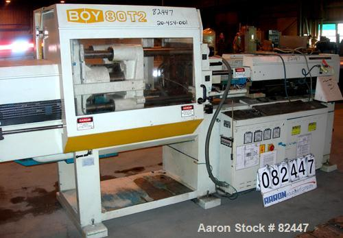 Used- Boy Hydraulic Injection Mold Machine, Model 80T2. 80 Ton clamping pressure. Approximate 5 ounce shot size with a 32mm ...