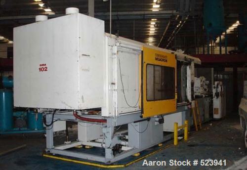 "USED: Cincinnati Milacron 850 ton, model VH-850, injection molding machine, 140 oz. Manufactured 1994. Tie bar spacing 45.3""..."