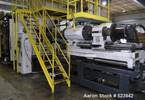 USED: Cincinnati Milacron 2,450 ton, model VL2450-352, injectionmolding machine, 362 oz. Manufactured 1998. Tie bar spacing ...