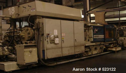 "USED: HPM 2200 ton injection molding machine, model H2200WP600. Overall platen 100"" x 80"", tie bar clearance 72"" x 52"", shot..."