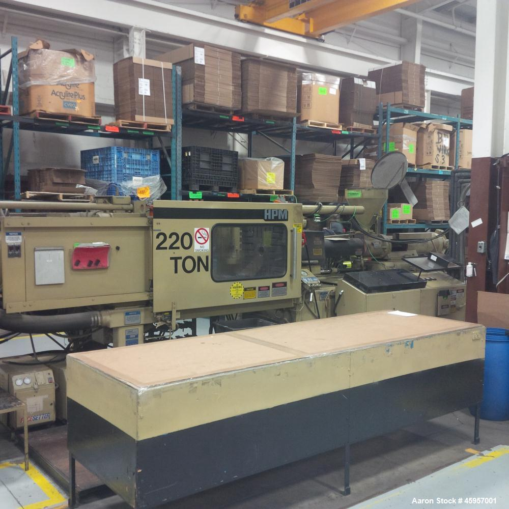 """Used- HPM Injection Molding Machine. 220 Ton, 20 oz., platen size 32.5"""" x 32.5"""". Distance between tie bars 22"""" x 22"""". 6"""" min..."""