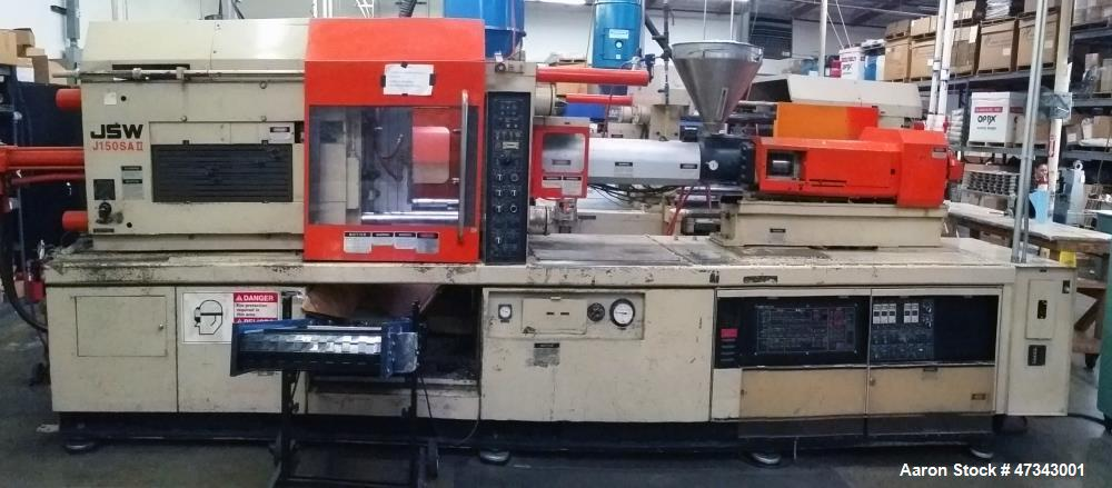 Used- JSW Horizontal Injection Molding Machine, Model J150SS-II. SVO injection head, double toggle mold clamping unit, 150 t...