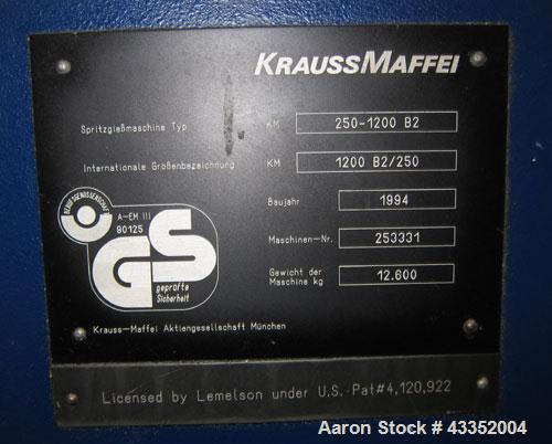 Used- Krauss Maffei Horizontal Injection Molder, 250 Tons, Model 250-1200 B2