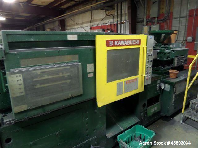 Used-Kawaguchi model KS-120B injection moulding machine, 13.54 shot vol, 120 ton capacity, 1.65 dia, 20.200 psi, 3/60/575 vo...