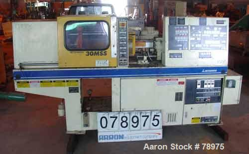 """USED: Mitsubishi injection molding machine, model 70/30MSS. 30 ton clamping pressure, 20:1 L/D, platen size 15"""" (380mm) wide..."""