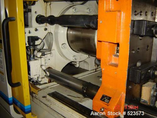 "USED: Mitsubishi model 90MJ2-5, 90 ton injection molding machine. Mfg 2000. 4.9 oz shot. Tie bar spacing is 14.96"" x 14.96""...."