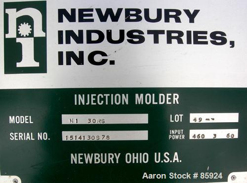 """Used- Newbury Industries Toggle Injection Molding Machine, Model HI30RS, 30 Ton. Platen size approximately 12-1/2"""" x 11"""". Di..."""