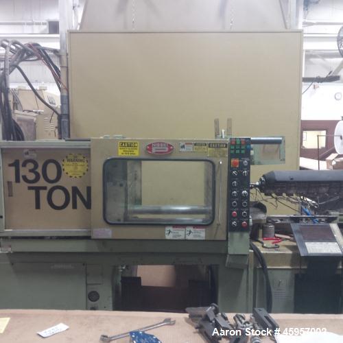 "Used- Nissei Injection Molding Machine. 130 Ton, 5.7 oz., platen size 23.6"" x 23.6"". Distance between tie bars 16.2"" x 16.2""..."