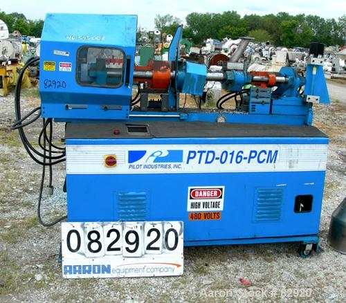 "USED: Pilot Industries 16 ton hydraulic injection molding machine, model PTD-016-PCM. Approx mold size 6"" x 8"". (2) 2-1/2"" d..."